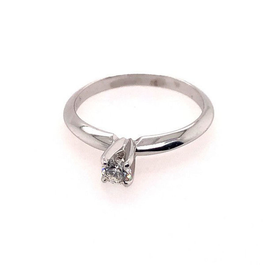 Picture of Lady's White 14 Karat Engagement Ring With One 0.16 Ct Round