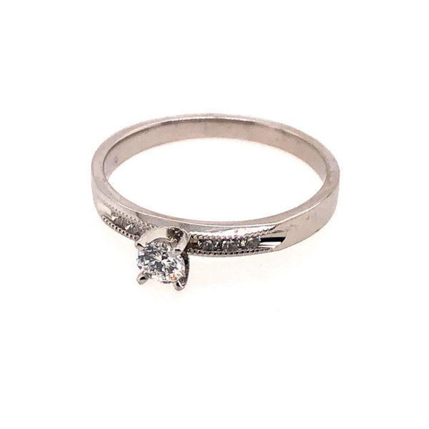 Picture of Lady's White 10 Karat White Gold Engagement Ring